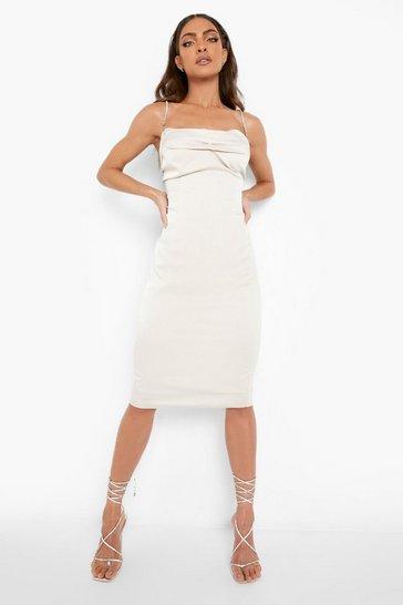 Ivory white Diamante Rouched Bust Bodycon Midi Dress