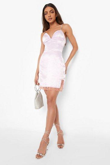 Lilac purple Diamante Strap Corset Lace Trim Mini Dress