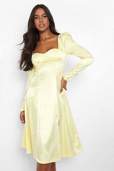 Lemon yellow Satin Cup Detail Side Split Midi Dress