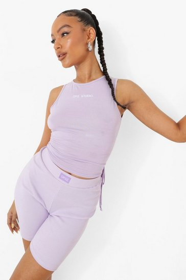 Lilac purple Purple Ofcl Studio Side Ruched Crop Top
