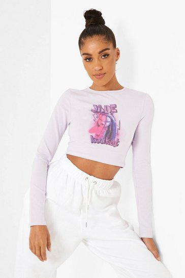 Lilac purple Bratz License Print Long Sleeve Crop Top