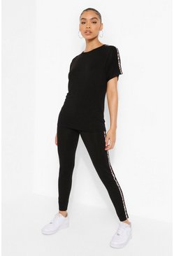 Black Leopard Side Stripe Legging