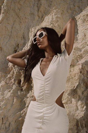 Ecru white White Recycled Slinky Rib Cut Out Mini Dress