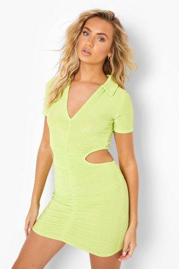 Green Recycled Slinky Rib Cut Out Mini Dress