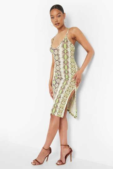 Green Snake Print Midi Slip Dress