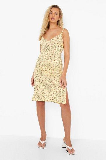 Yellow Gingham Floral Midi Slip Dress
