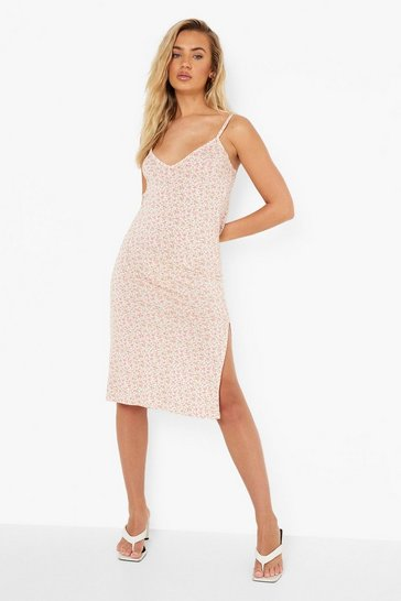Cream white Ditsy Floral Midi Slip Dress