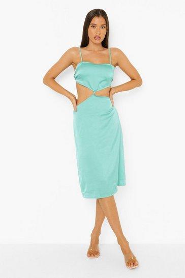 Blue Satin Cut Out Midi Dress