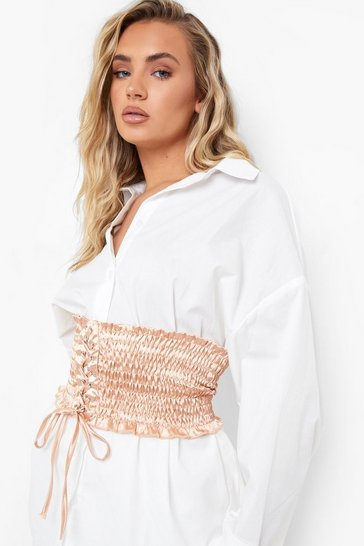Nude Ruched Satin Corset Belt