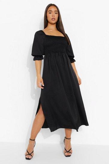 Black Satin Shirred Detail Midaxi Dress