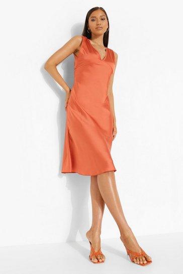 Orange Satin V Neck Midi Dress