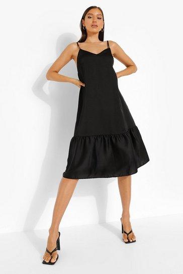 Black Satin Strappy Drop Hem Midi Dress