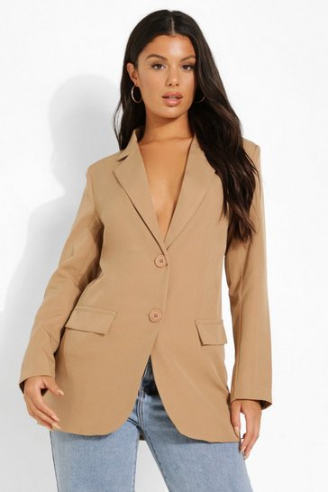Camel beige Fitted Tailored Blazer