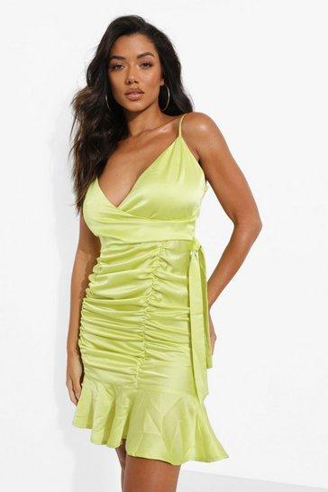Lime green Satin Ruched Detail  Mini Dress