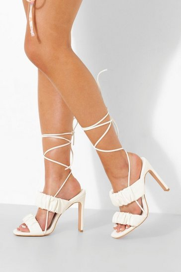 White Ruched Wrap Up Sandal