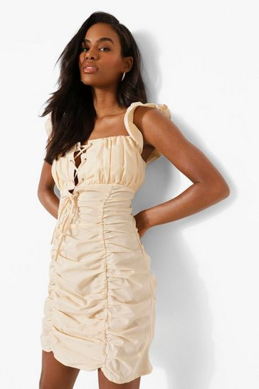 Stone beige Tie Detail Ruched Mini Dress