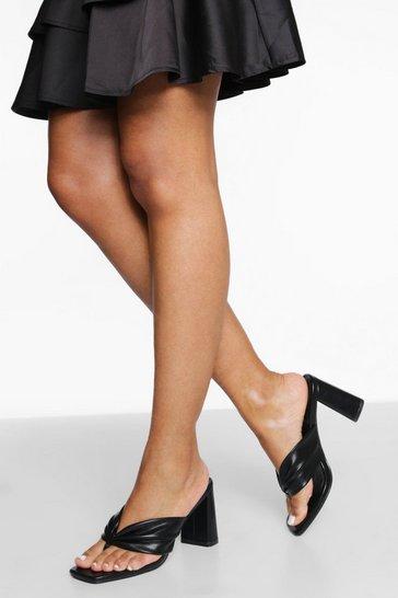 Black Soft Toe Post Block Heel Mule