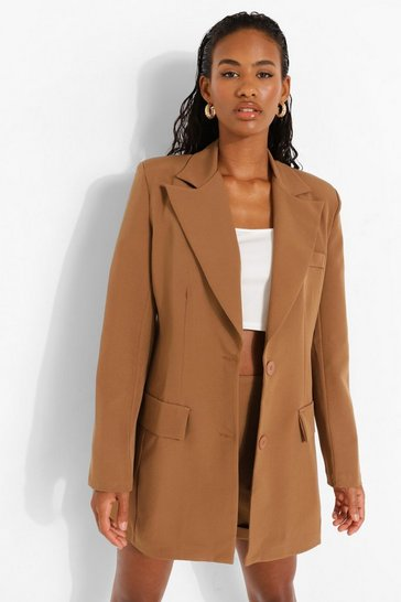 Camel beige Tailored Fitted Blazer