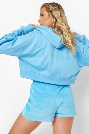 Blue Official Cropped Zip Through Hoodie