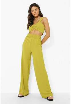 Olive green Bralette And Wide Leg Trousers