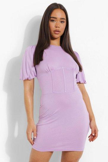Lilac purple Puff Sleeve Corset Detail T Shirt Dress