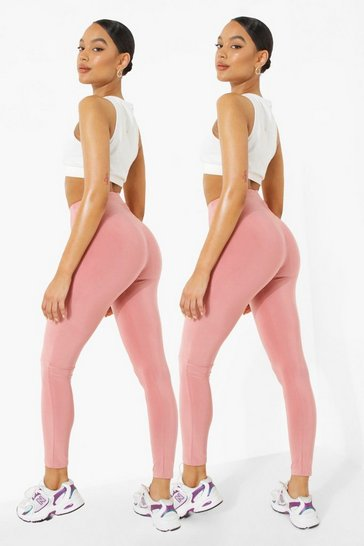 Blush pink 2 Pack Ruched Bum Booty Boosting Gym Leggings