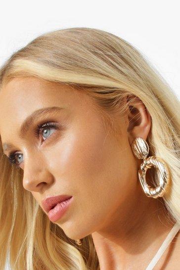 Gold metallic Textured Stripe Knocker Earrings