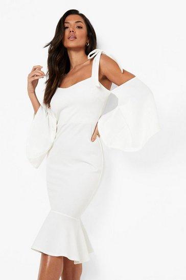 White Cold Shoulder Tie Flute Sleeve Midi Dress