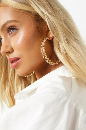 Gold metallic Chunky Chain Hoop Earrings