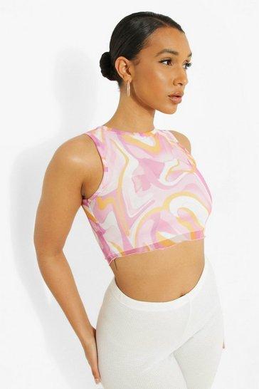 Pink Marble Print Mesh Crop Top