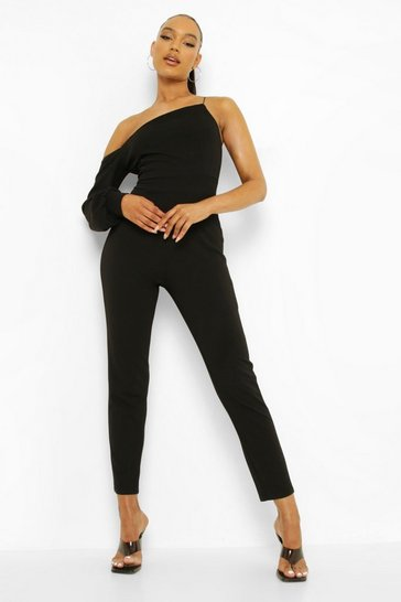 Asymetric Puff Sleeve Jumpsuit