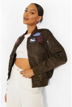 Khaki Varsity Badge Bomber Jacket