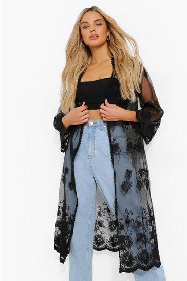 Black Lace Midi Kimono