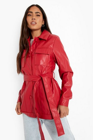 Burgundy red High Shine Belted Faux Leather Jacket
