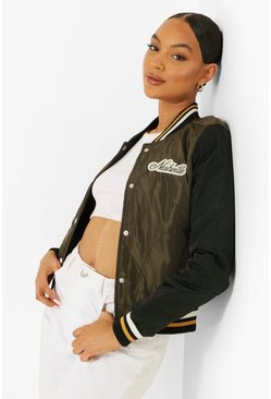 Khaki Varsity Colourblock Bomber Jacket