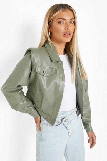 Sage green Shoulder Detail Faux Leather Jacket