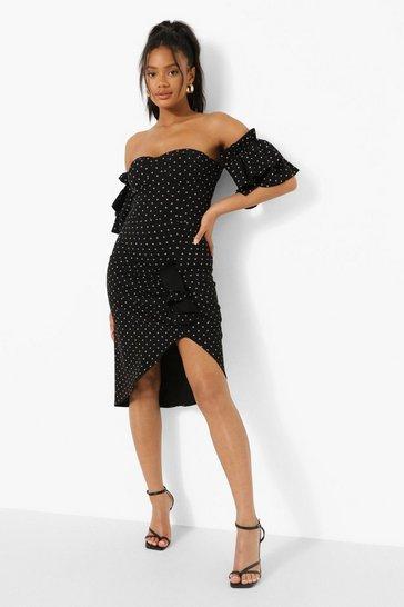 Black Ruffle Bardot Corset Style Midi Dress