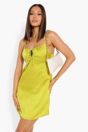Olive green Ruched Bust Satin Mini Dress