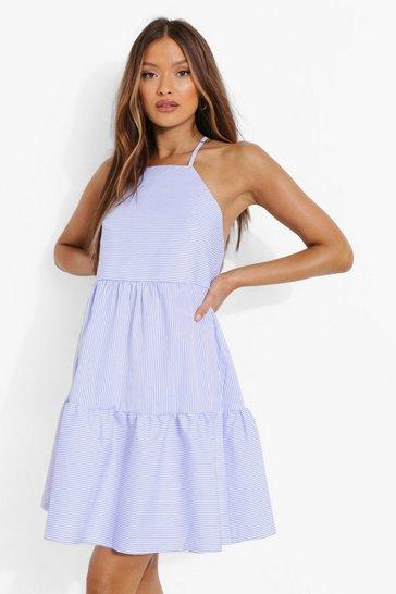Blue Striped Linen Smock Dress