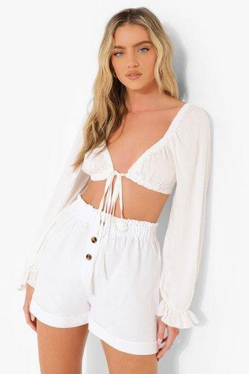 White Button Front Linen Shorts