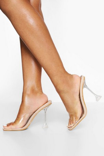 Nude Clear Square Toe Mule