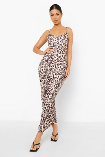 Brown Animal Strappy Maxi Dress