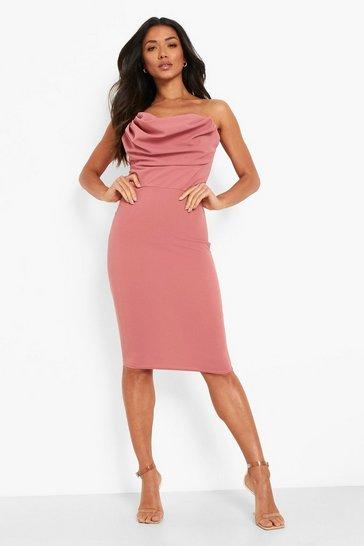 Rose pink Strapless Draped Bust Boydcon Midi Dress