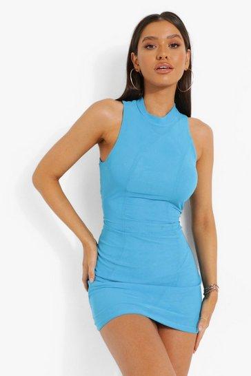 Blue Panelled Mesh High Neck Mini Dress