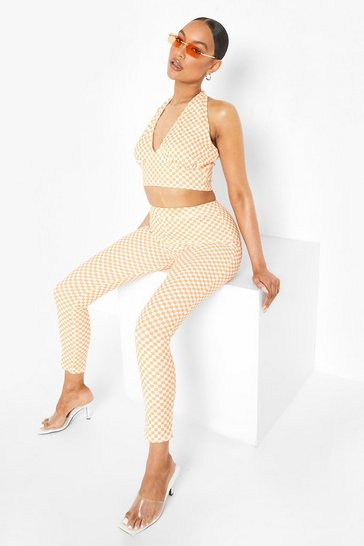 Orange Checkerboard Halter & Slim Fit Trousers