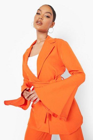 Tangerine orange Tie Waist Flared Sleeve Tailored Blazer