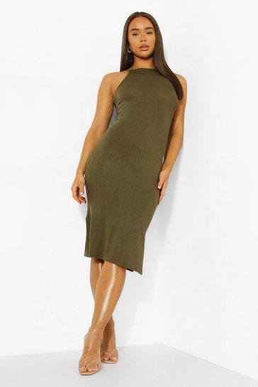 Olive green Strappy Racer Neck Midi Slip Dress