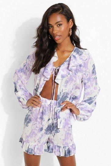 Lilac purple Tie Dye Ruffle Shorts
