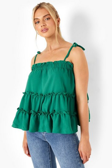 Green Smock Tiered Cami Top