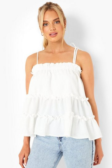 White Smock Tiered Cami Top